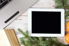 Computerarbeit Laptop und Tablette Geschäft Neue Jahre Atmosphäre Lizenzfreie Stockfotografie