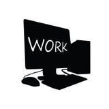 Computerarbeitsschwarzvektor Lizenzfreie Stockfotos