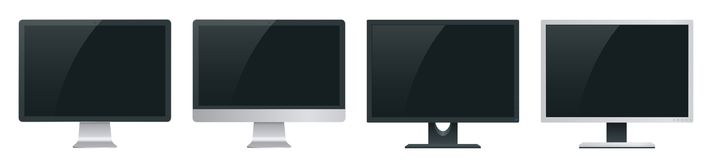 Computerbildschirmmodell mit einer Perspektivenansicht, zum von Websiteprojektplanung in der modernen Art zur Schau zu stellen Co vektor abbildung