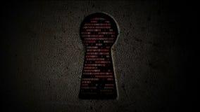 Computerbinär code durch das Schlüsselloch