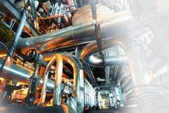 Computercad ontwerp van pijpleidingen van moderne industriële machtspla Stock Foto