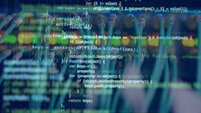 Computercode, der einen Monitor weitergeht stock video footage