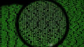 Computercodes die op het scherm lopen stock video