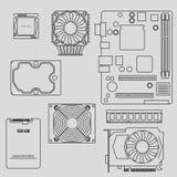 Computercomponenten Stock Afbeelding