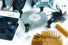 Computerdelen - koelventilatiesysteem stock fotografie