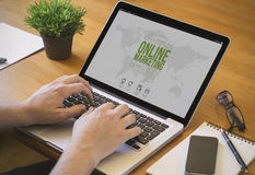 Computerdesktop online marketing Royalty-vrije Stock Foto