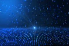 Computererzeugter blauer binärer Hintergrund des Digital-Weltkonzeptes stock abbildung