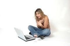 Computerfrau lizenzfreie stockfotos