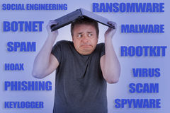 Computergebruiker door zwendel, ransomware, het phishing, virus wordt bedreigd dat et Royalty-vrije Stock Foto