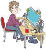 Computergebruiker op het werk Royalty-vrije Stock Afbeeldingen