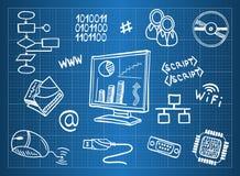 Computerhardware und ES Symbole Lizenzfreies Stockfoto