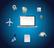 Computerhulpmiddelen en het ontwerp van de verbindingsillustratie Royalty-vrije Stock Afbeeldingen