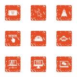 Computerisation a life icons set, grunge style. Computerisation a life icons set. Grunge set of 9 computerisation a life vector icons for web isolated on white Stock Image