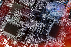 Computerized, circuitboard and human brain Royalty Free Stock Photos