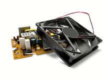 Computerkühlvorrichtungsfan und Stromversorgungseinheit Lizenzfreies Stockfoto