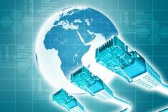 Computerkabel mit Erde Stockfotos