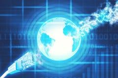 Computerkabel mit Erde und Zahlen Lizenzfreies Stockfoto