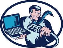Computerkerlseilzug und Laptop lizenzfreie abbildung