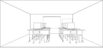 Computerklasse met lijsten en computers vector illustratie