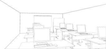 Computerklasse met lijsten en computers royalty-vrije illustratie