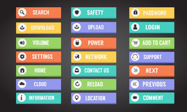 Computerknöpfe und -ikonen mit Text Stockfotografie