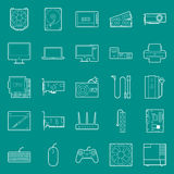Computerkomponenten und -peripherie verdünnen Linien die eingestellten Ikonen Stockbilder