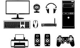 Computerkomponenten-Vektorsatz Stockbilder