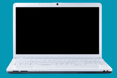 Computerlaptop Front View Isolated Clipping Path Royalty-vrije Stock Foto
