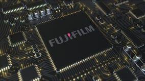 Computerleiterplatte oder PWB mit Logo Fujifilm Holdings Corporation Begriffsanimation des leitartikels 3D stock video footage