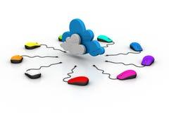 Computermaus angeschlossen an eine Wolke Stockfotos