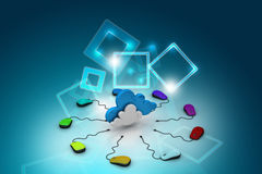Computermaus angeschlossen an eine Wolke Lizenzfreies Stockfoto