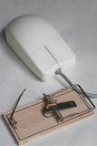 Computermaus mit einer Mäusefalle Lizenzfreie Stockfotografie