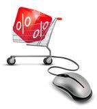 Computermaus und ein Einkaufswagen Lizenzfreies Stockbild
