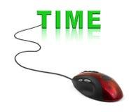 Computermaus und Wort Zeit Stockfotografie
