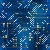 Computermicrochip, naadloos patroon op blauwe achtergrond Stock Afbeelding