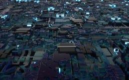 Computermikrochipstadt-Luftparadeschleife Stockbilder