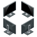 Computermonitor, Anzeige lokalisiert auf Weiß Isometrische Illustration des flachen Vektors 3d Lizenzfreies Stockfoto