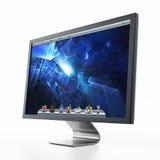 Computermonitor met blauw Desktopbehang 3D Illustratie Stock Afbeelding