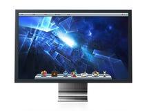 Computermonitor met blauw Desktopbehang 3D Illustratie Royalty-vrije Stock Fotografie