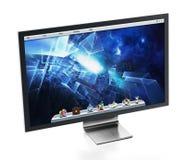 Computermonitor met blauw Desktopbehang 3D Illustratie Royalty-vrije Stock Foto