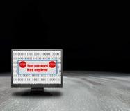 Computermonitor met login probleem Stock Afbeelding