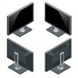Computermonitor, vertoning op wit wordt geïsoleerd dat Vlakke 3d Vector isometrische illustratie Royalty-vrije Stock Foto