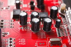Computermotherboard de Componenten sluiten omhoog Royalty-vrije Stock Afbeeldingen