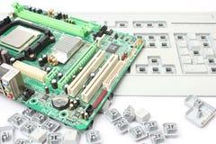 Computermotherboard und -tastatur Stockfoto