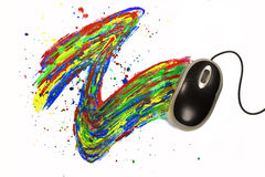 Computermouse painting on white background Stock Images