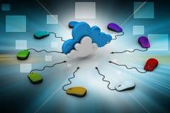 Computermuis aan een wolk wordt aangesloten die Stock Foto