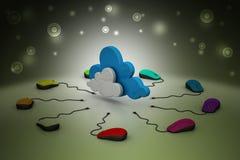 Computermuis aan een wolk wordt aangesloten die Royalty-vrije Stock Foto