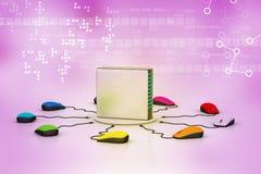 Computermuis aangesloten Server Royalty-vrije Stock Foto's