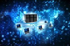 Computernetwerk, Computer aan server wordt aangesloten die 3d geef terug vector illustratie