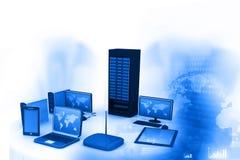 Computernetwerk en Internet-mededeling vector illustratie